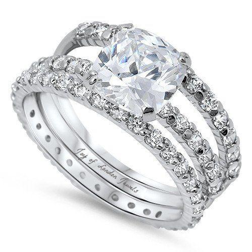 74da2f961a5e4 A Perfect 3CT Cushion Cut Solitaire Russian Lab Diamond Bridal Set ...