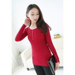 $8.47 Slimming Long Sleeve Solid Color Pullover Sweater For Women