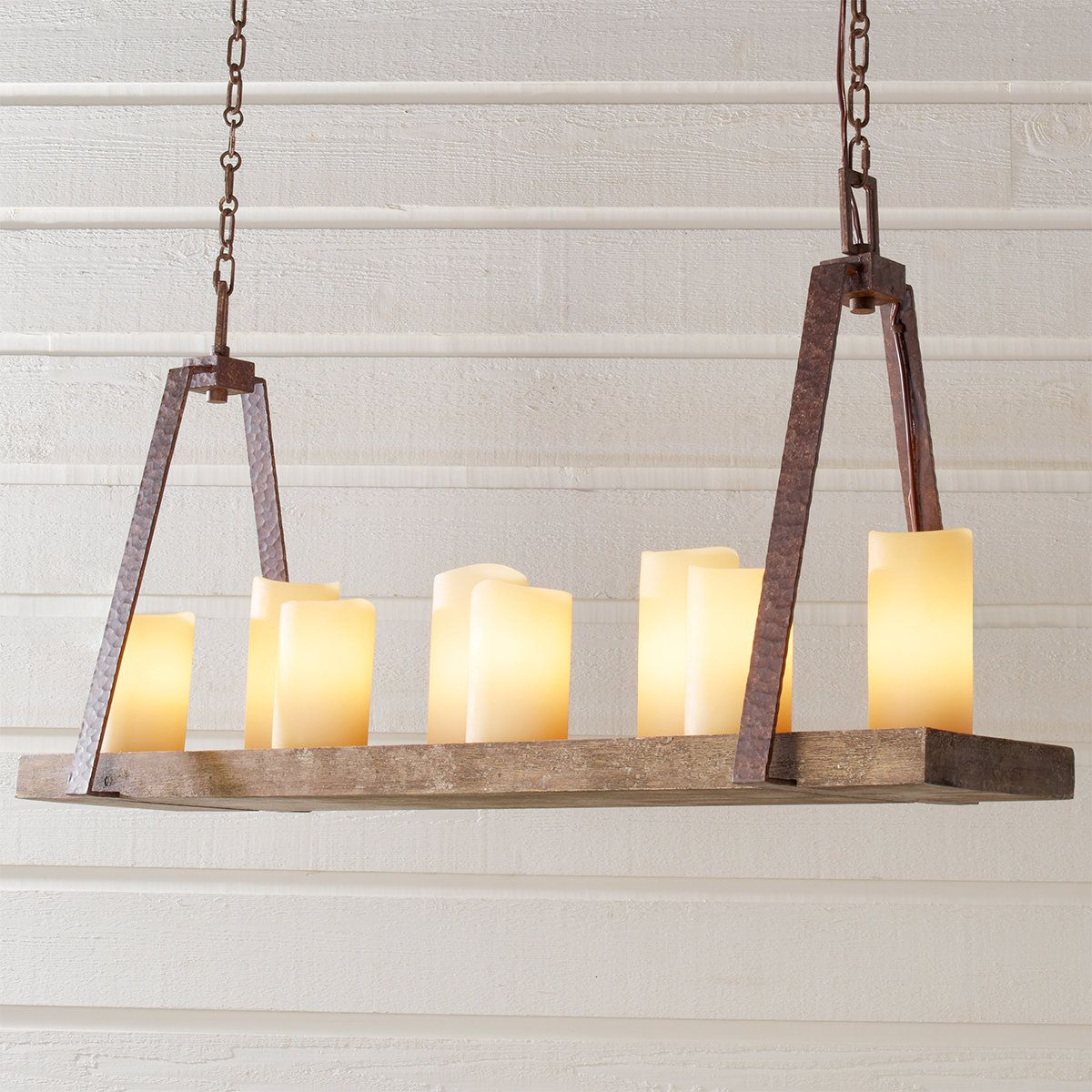 Rustic Plank Candle Island Chandelier In 2020 Faux Candle Chandelier Candle Light Chandelier Faux Candles