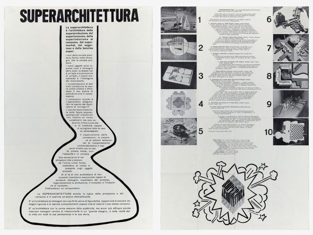 Superstudio Superarchitettura 1967 Manifesto Per La Mostra Alla Galleria Del Comune Di Modena Giulio Boem Walker Art Center Exhibition History Design