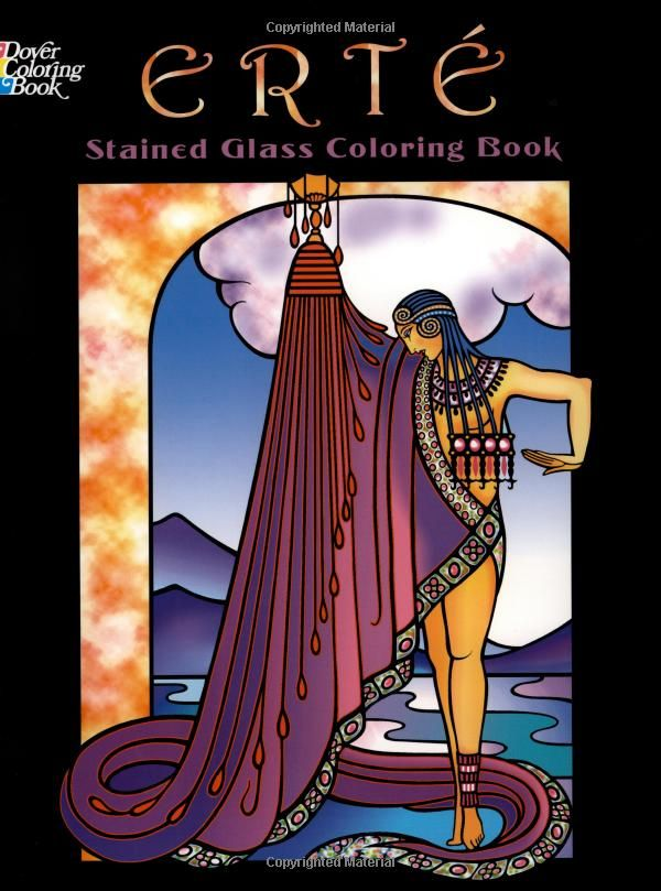 ert stained glass coloring book dover stained glass coloring book