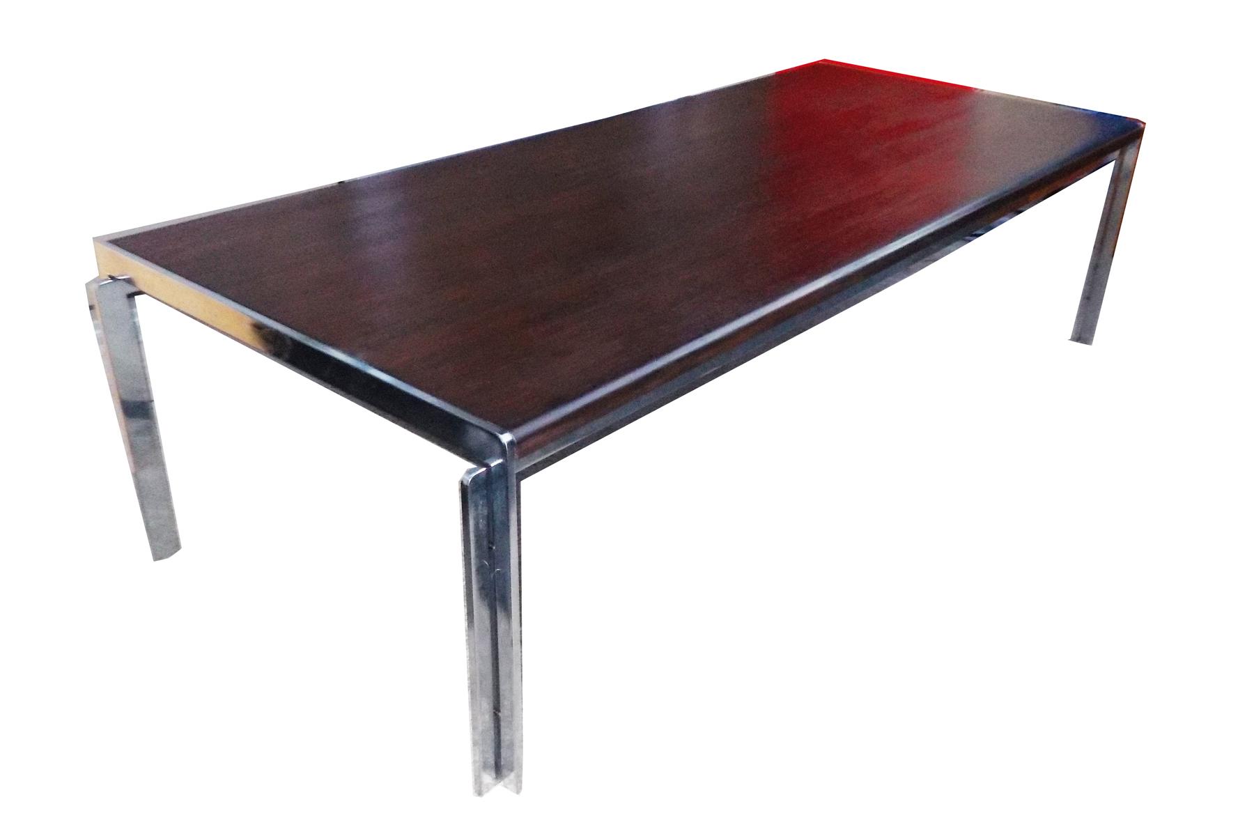 Stow Davis Vintage Wood Chrome Coffee Table