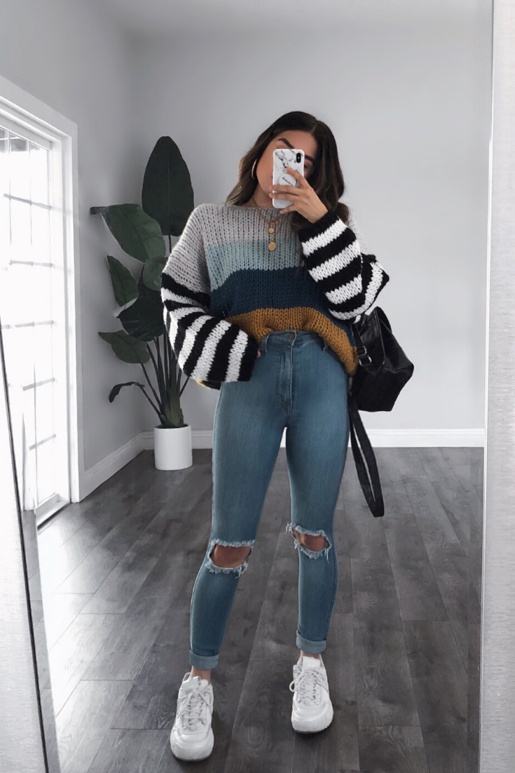 Photo of Striped Colorblock Oversize Knit Sweater | knitting inspiration style winter #,  #Colorbloc…