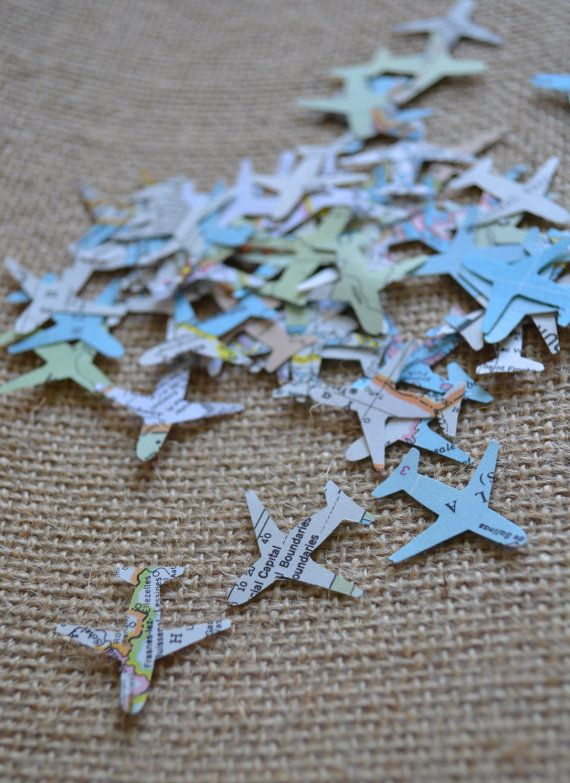 atlas airplane confetti, map confetti, wedding confetti, going away - confeti