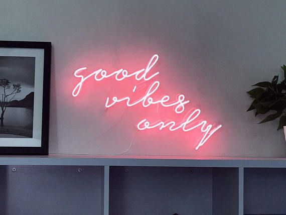 Good Vibes Only Cursive Neon Light Sign Lamp Wall Decor Art Neon Sign Bedroom Neon Signs Neon Wall Art
