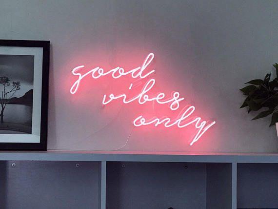 Good Vibes Only Cursive Neon Light Sign Lamp Wall Decor Art Neon