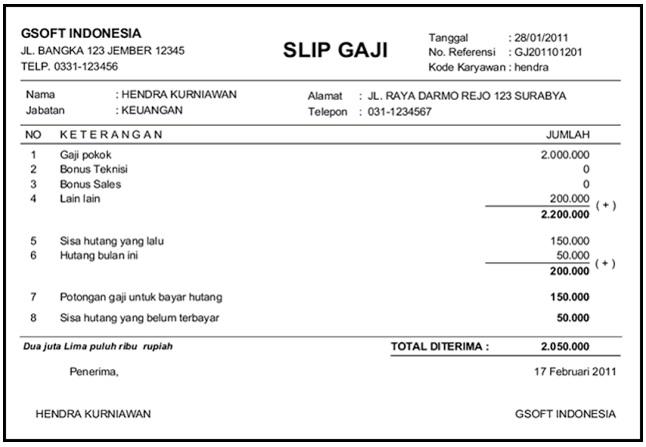 Contoh Payslip Gaji Malaysia Can You 2B5 Surat