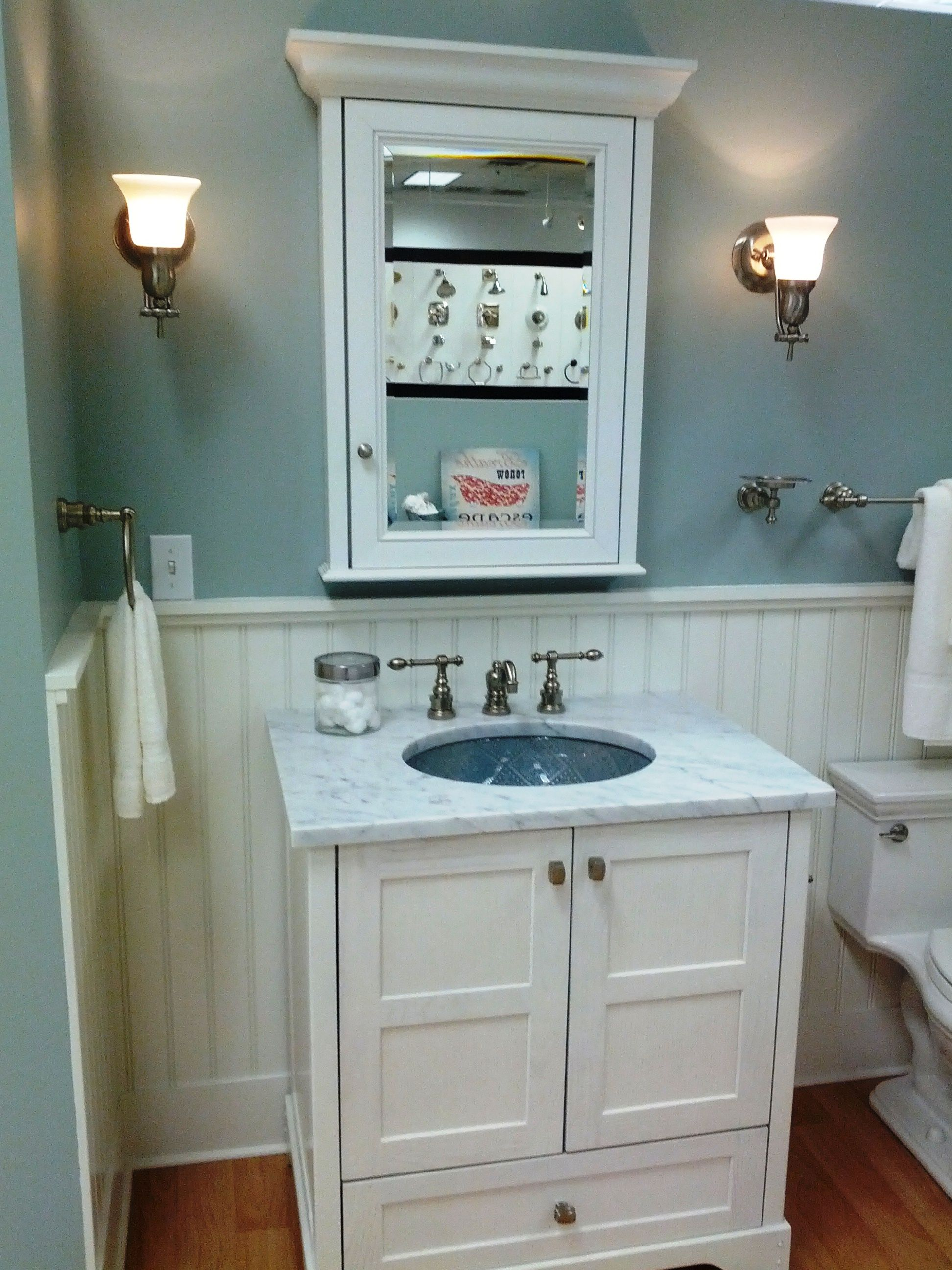 Small bathroom decorating ideas color - Room Colors Wainscoting White Wainscoting Tub Base With Medium Blue Wall Color A Small Bathroom Decoratingideas