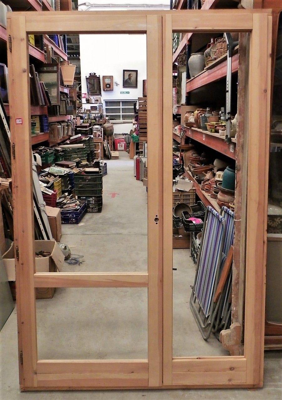 Puerta cristalera de Madera, con hoja fija de 58 cm y puerta de 83 ...