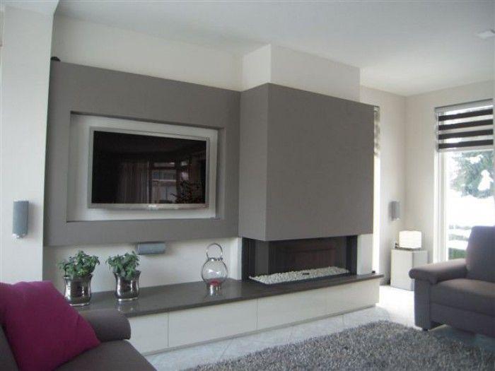 Open haard gecombineerd met tv alles fuer zuhause pinterest haard tv en met - Deco moderne open haard ...