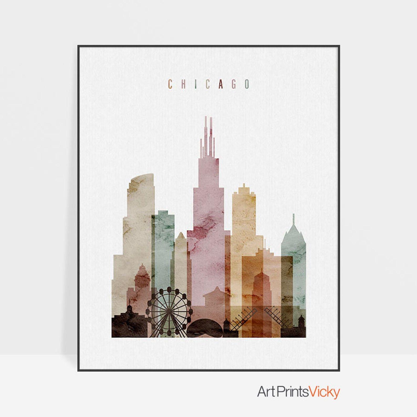 Chicago skyline, Chicago art print, Chicago poster, wall