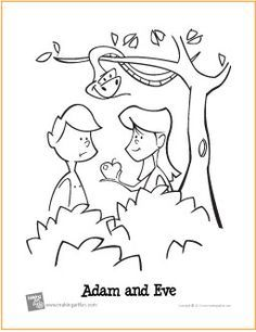 adam  eve garden  eden  printable coloring