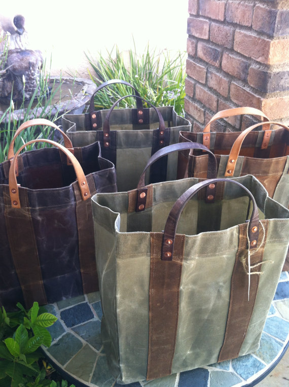 Waxed Canvas Market Grocery Bags Set Of 4 Reusuable By Mymansak