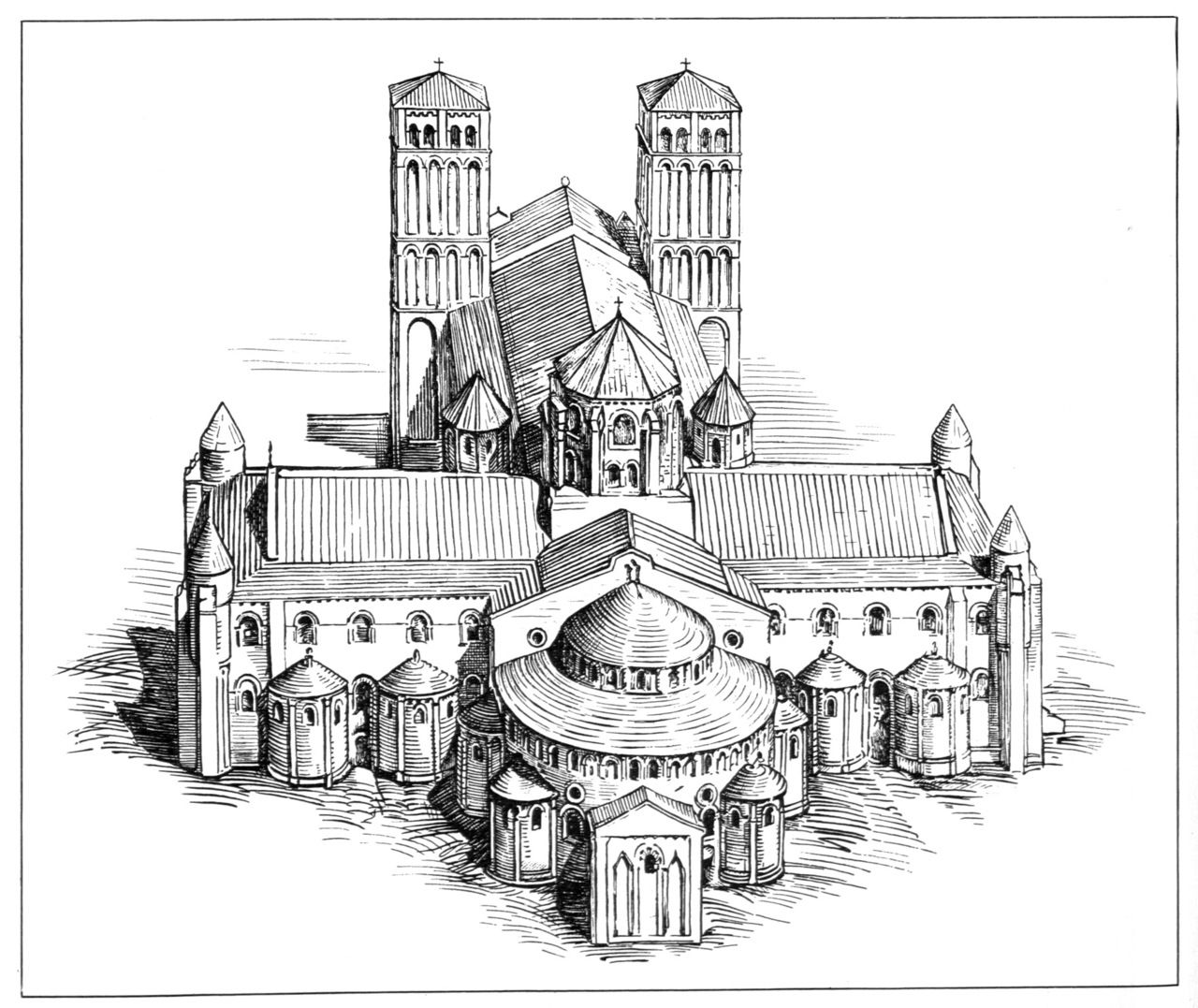 Cathedral Of Santiago De Compostela Reconstruction Drawing Of Original 12th C Appearance Church Architecture Architecture Drawing Romanesque
