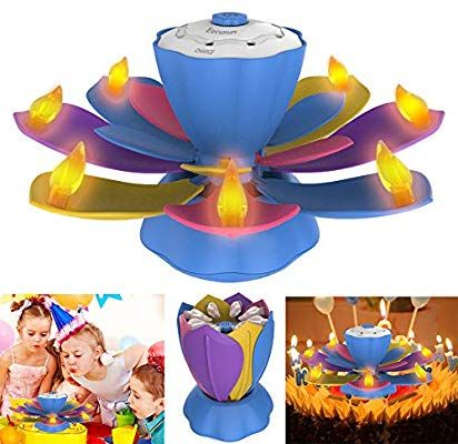 Amazon Flameless LED Birthday Candles Musical Lotus Rotating