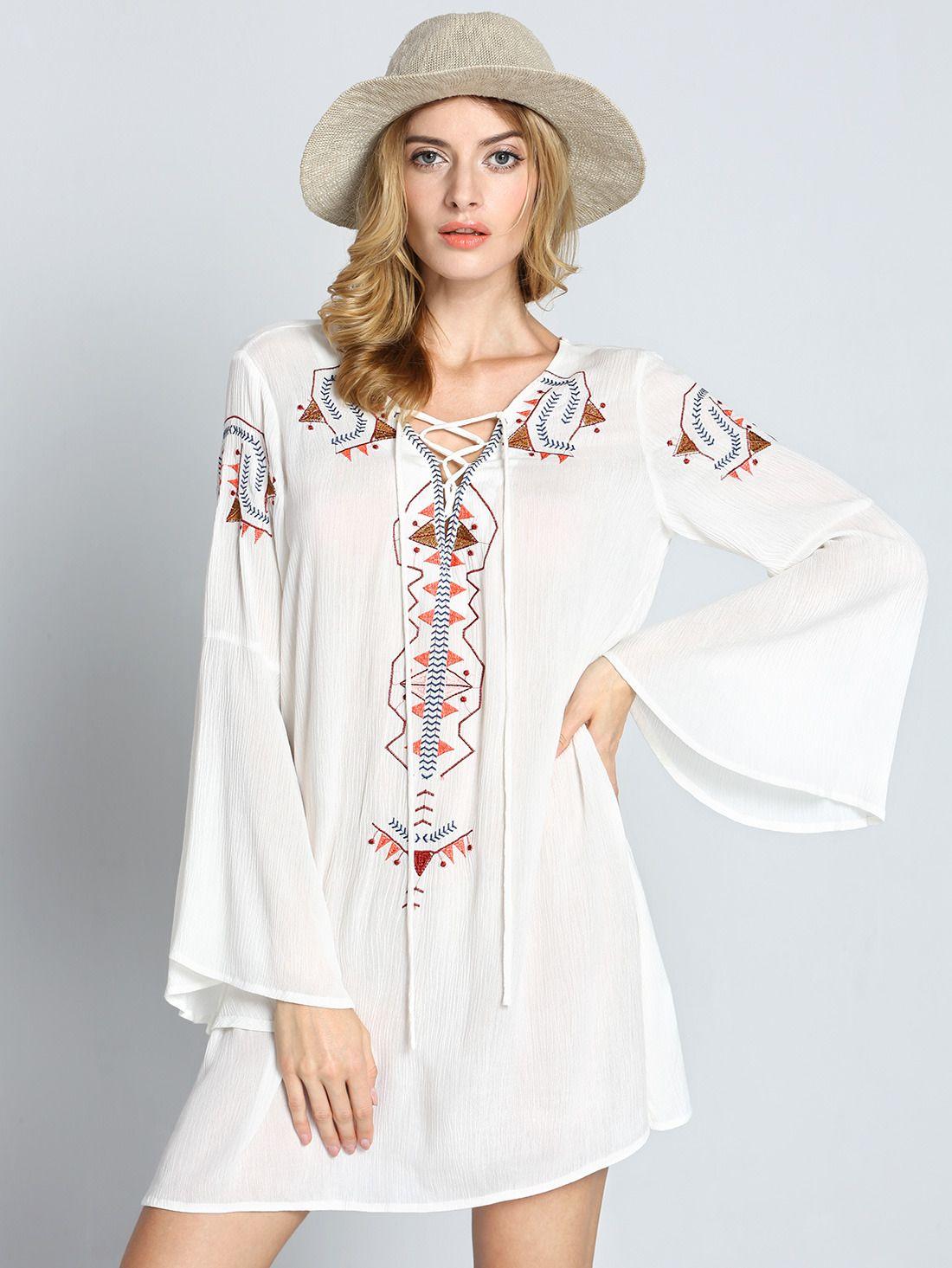 JUST REMEMBER TRIBAL EMBROIDERED DRESS - LIGHT DENIM---SALE