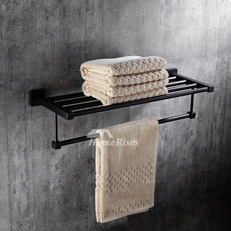 Towel Rack Shelf Black Bathroom