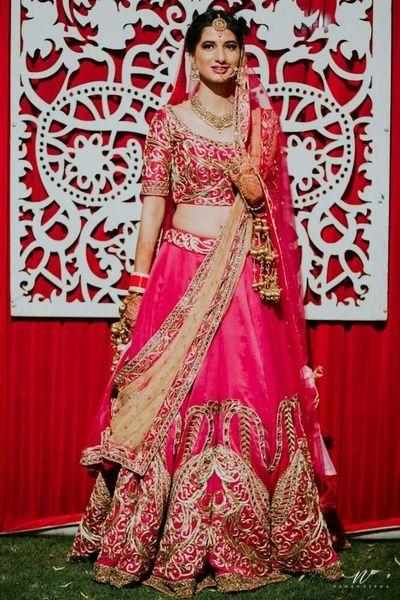 cec86e7fef5a Bridal Lehenga - Fuchsia Pink Wedding Lehenga | WedMeGood | Fuchsia Lehenga  with Gold Embroidery and Double Dupatta, Beige and Pink Net Dupatta  #wedmegood ...