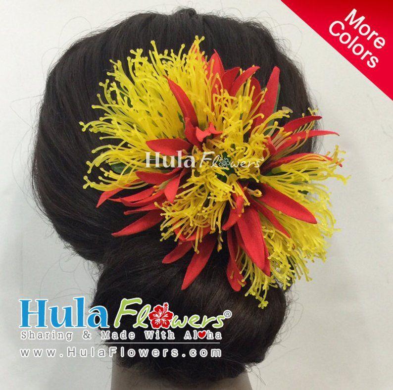 Hawaiian Wedding Hairstyles: Hawaiian Lehua And Spider Lily Hair Clip For Hula Dancers