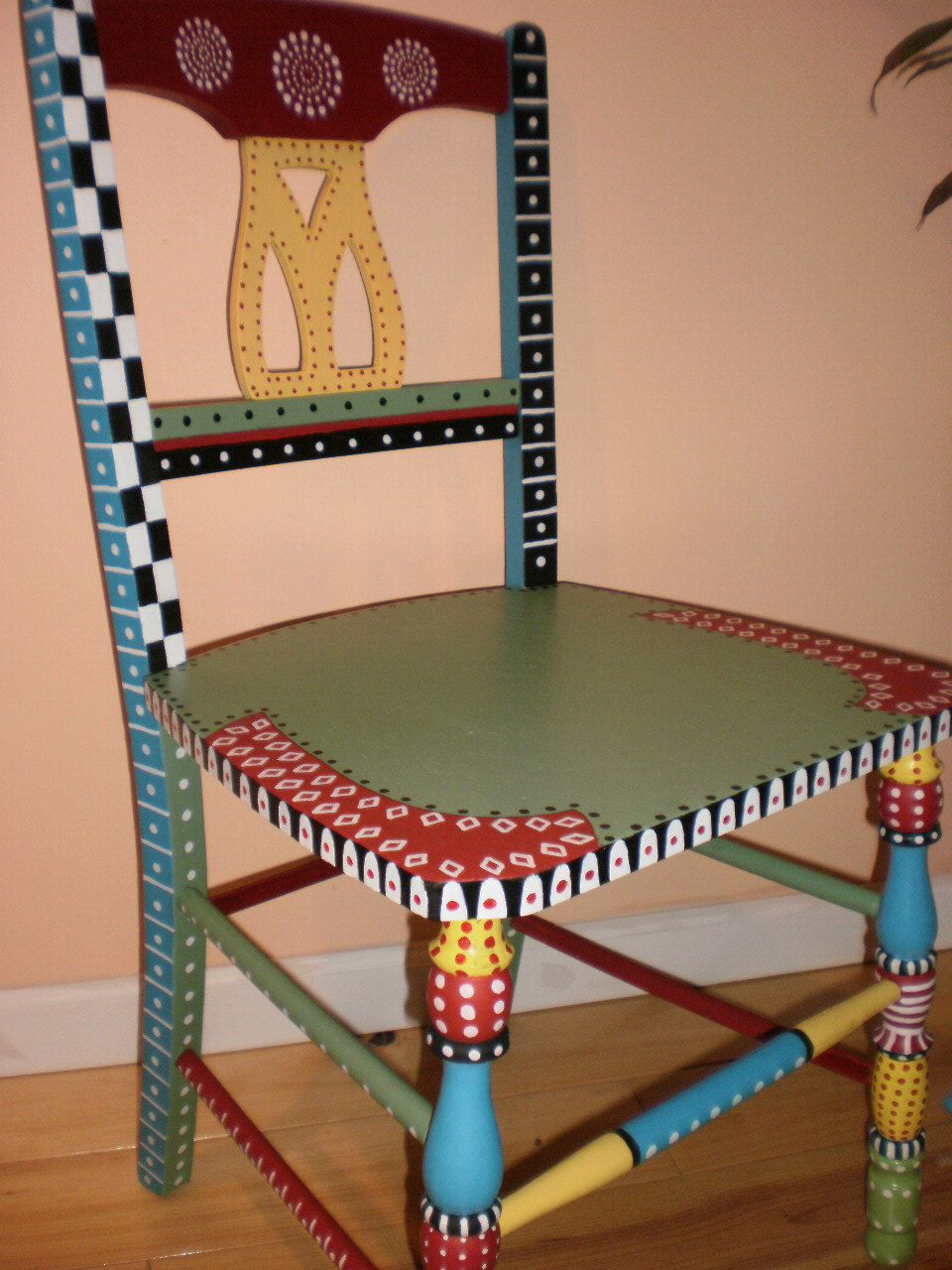 Whimsical hand painted folk art chairgypsy folk by - Hand painted furniture ideas ...
