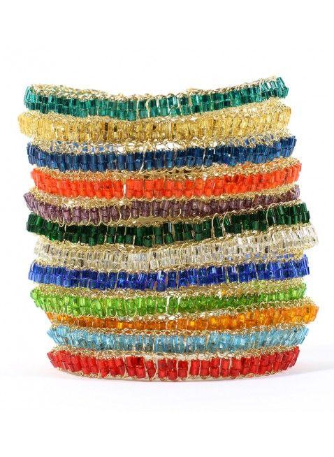 PULSEIRA STRIPE COLOR - Com a bela Pulseira Stripe você parece estar usando vårias lindas pulseiras em apenas uma.
