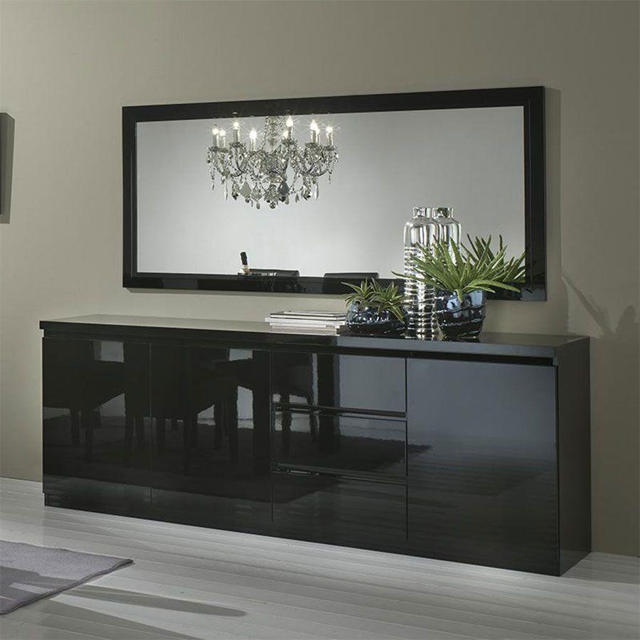 Buffet bahut noir laqué design SANY | bahut | Pinterest | Bahut ...