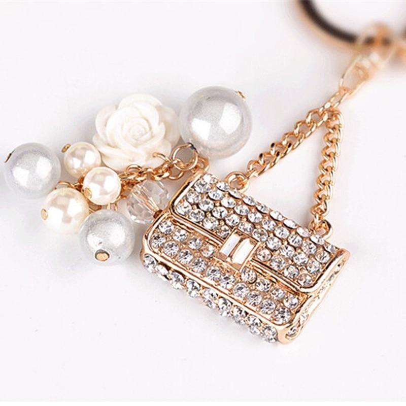 Bling Diamond Car Keyring Keychain Charm Pendant For Bag Handbag with pearls