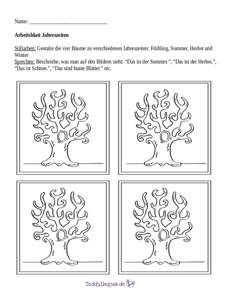Arbeitsblätter  Teddylingua  Jahreszeiten arbeitsblatt
