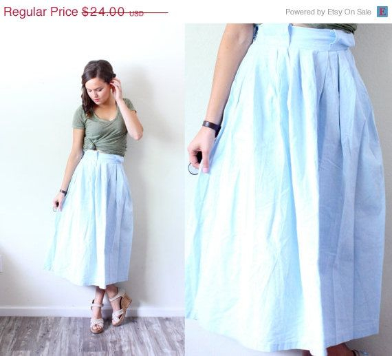20% OFF HALLOWEEN SALE Vintage 80's Xsmall// Light blue jean full skirt // acid wash jean skirt // jean skirt // maxi skirt // summer skirt