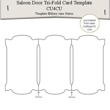 Saloon Door Tri Fold Card Template 1 Cu4cu SVG Pinterest