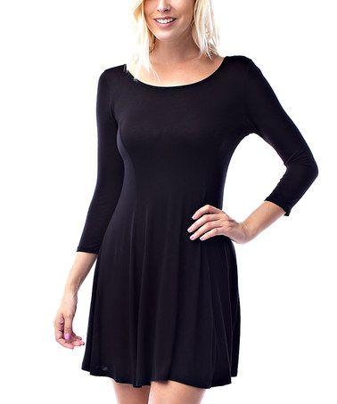Black Princess-Seam Skater Dress #zulily #zulilyfinds