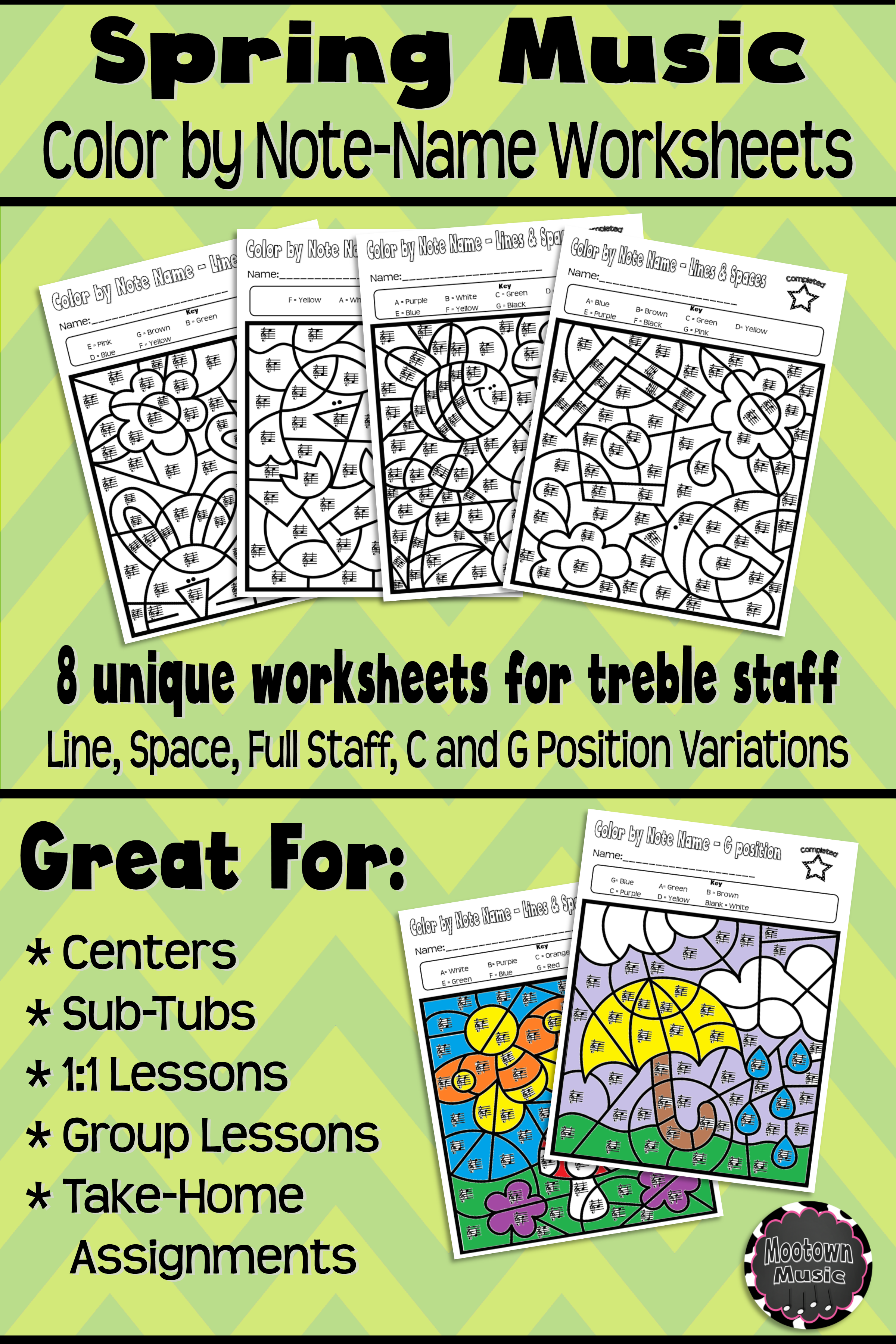 Spring Music Worksheets Color By Note Name