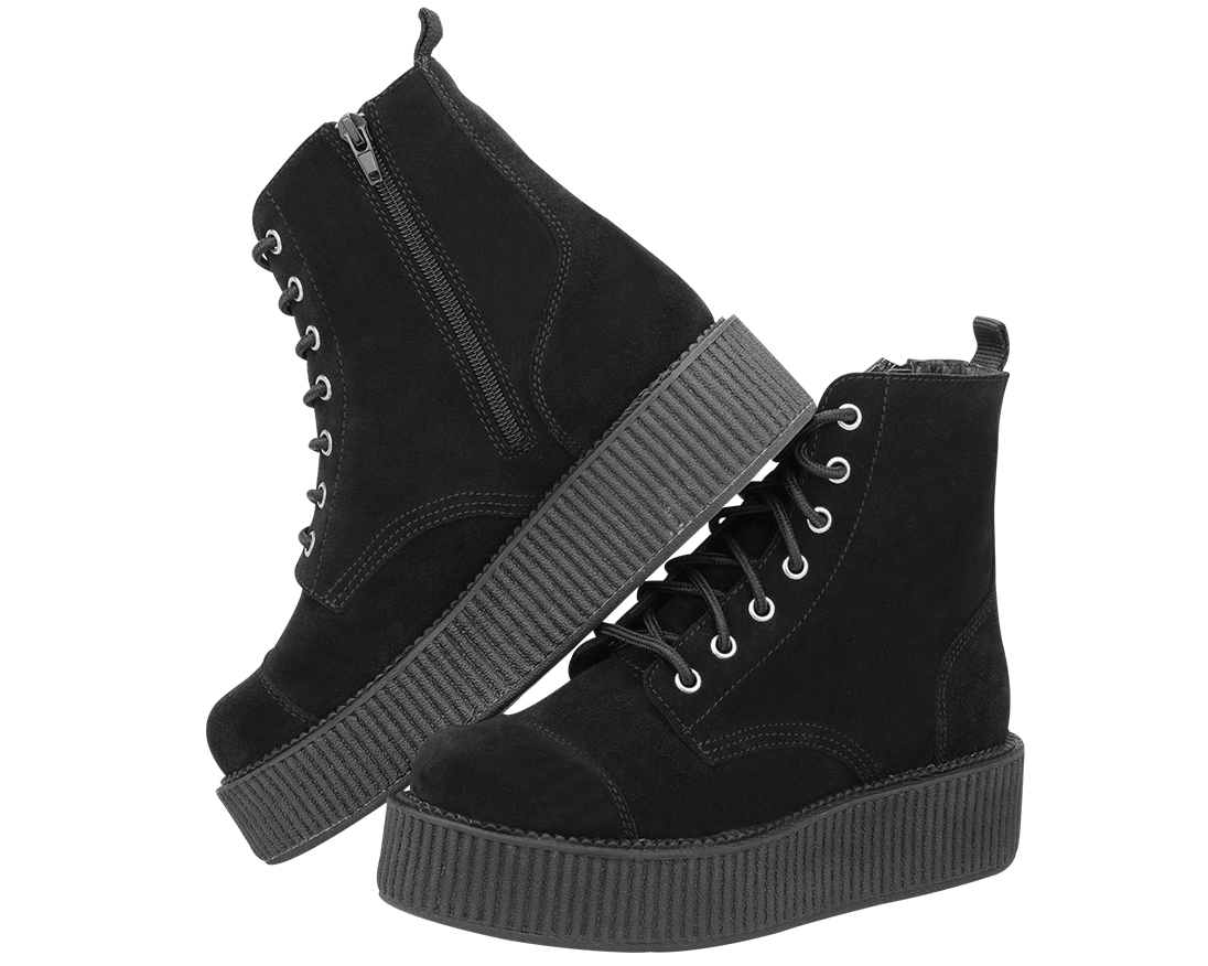Black Suede Combat Creeper Boots ? T.U.K. Shoes | T.U.K. Shoes