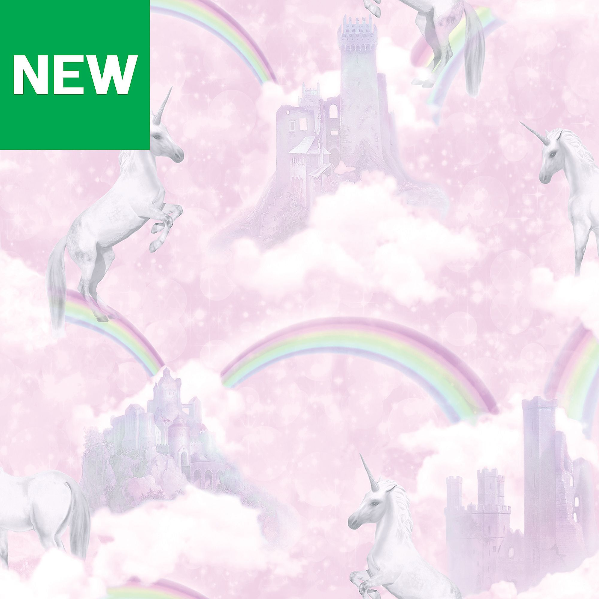 Pink Unicorn Glitter Wallpaper Sparkle Girls Rainbow Fairytale Holden Decor