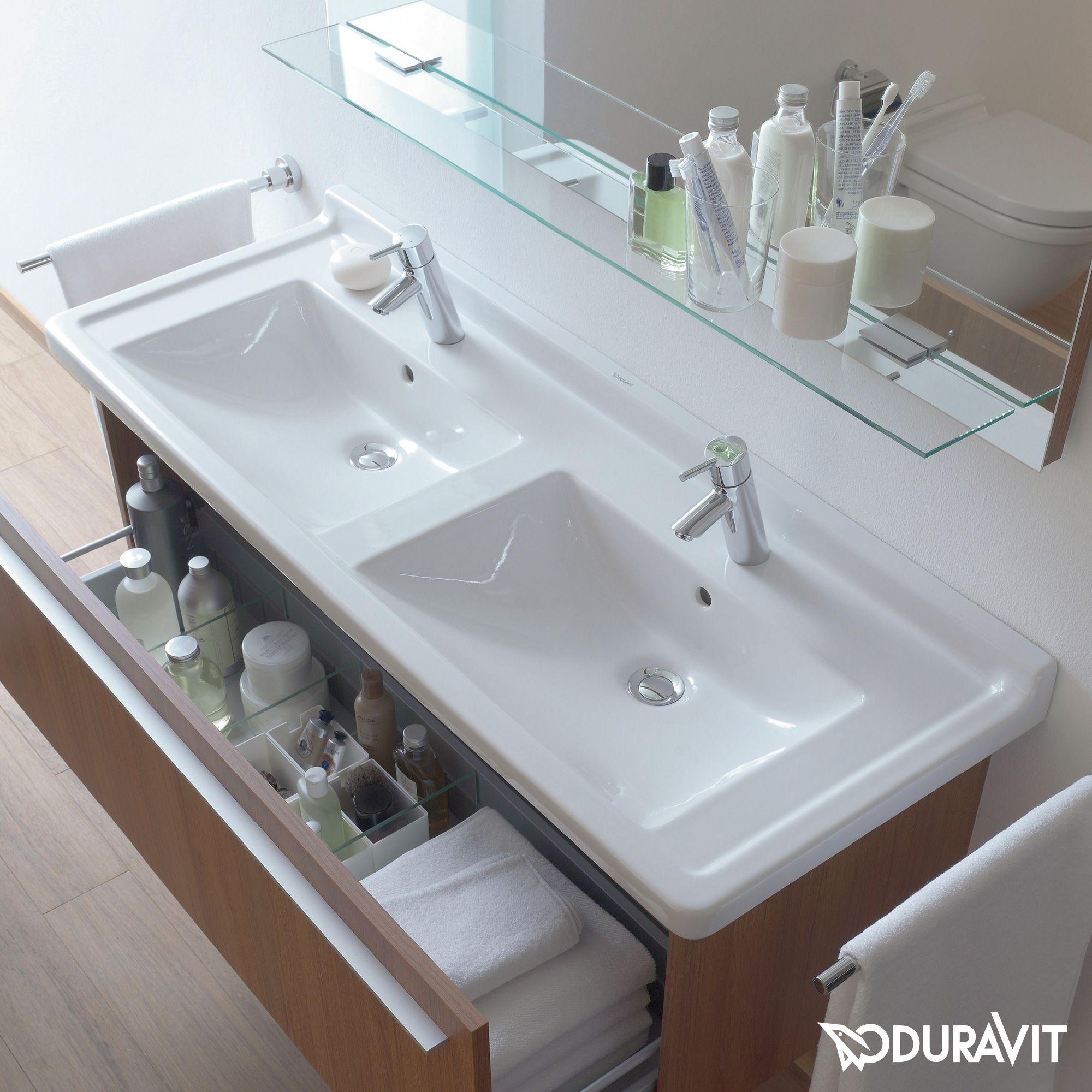 Duravit Starck 3 Doppel-Waschtisch weiß mit Wondergliss mit 1 ... | {Doppelwaschtisch aufsatzwaschbecken duravit 9}