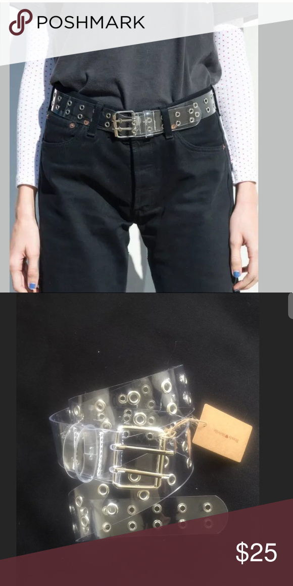 Brandy Melville Clear And Silver Grommet Belt Nwt Brandy
