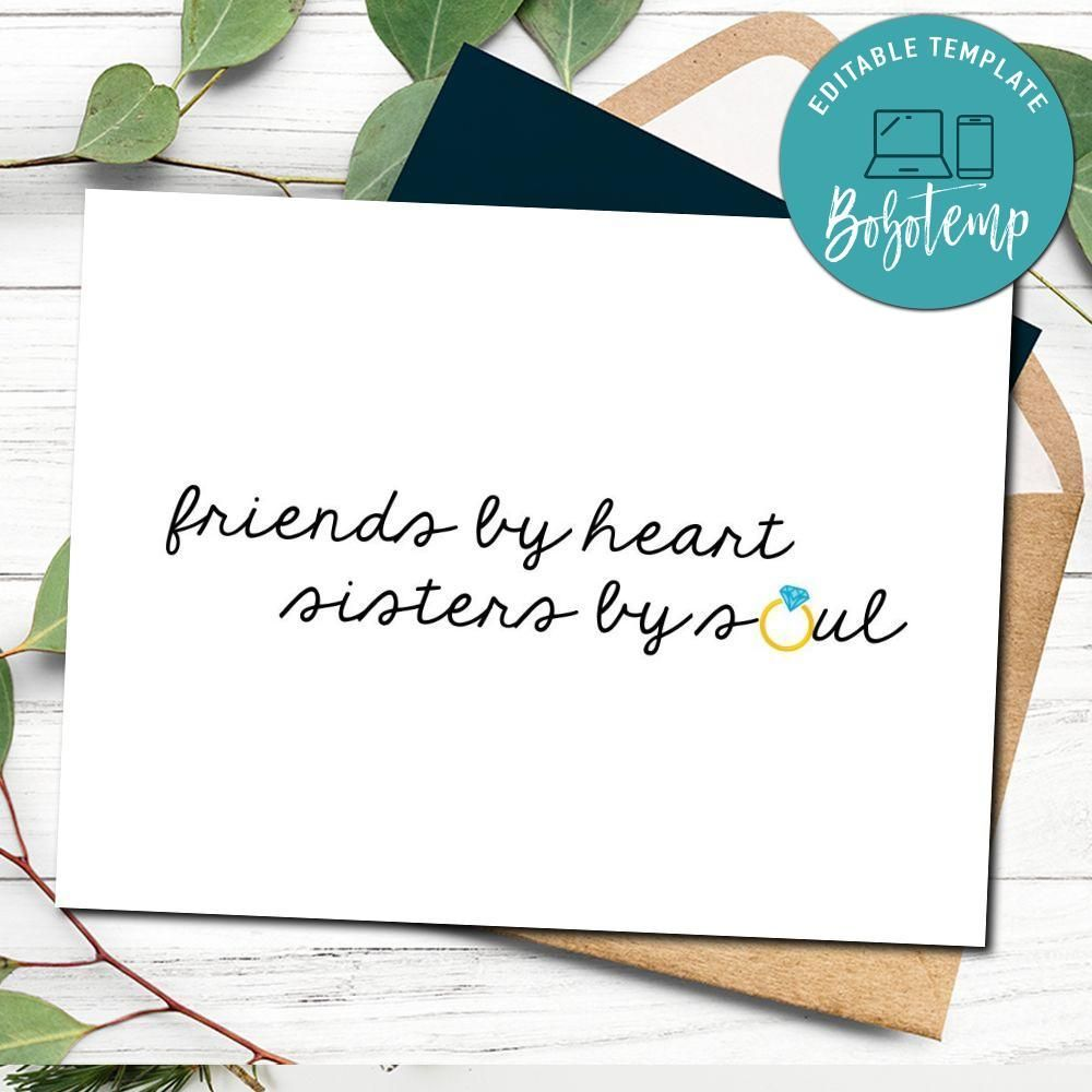Sister Bridesmaid Card Template Best Friend Card Template Bridesmaid Cards Best Friend Cards Cards For Friends