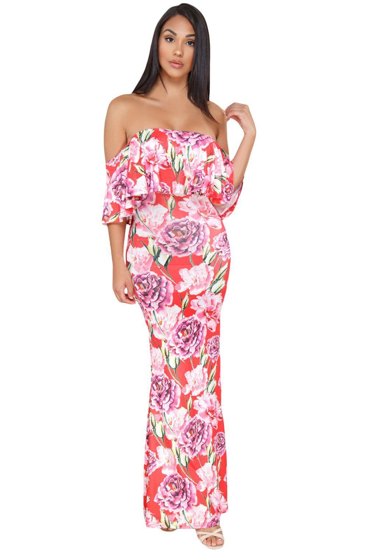 f67da35cbf73 Coral Red Floral Print Off-the-shoulder Maxi Dress in 2019 | Home ...