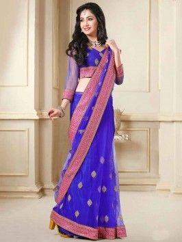 Royal Blue Net Saree With Cutdana Work