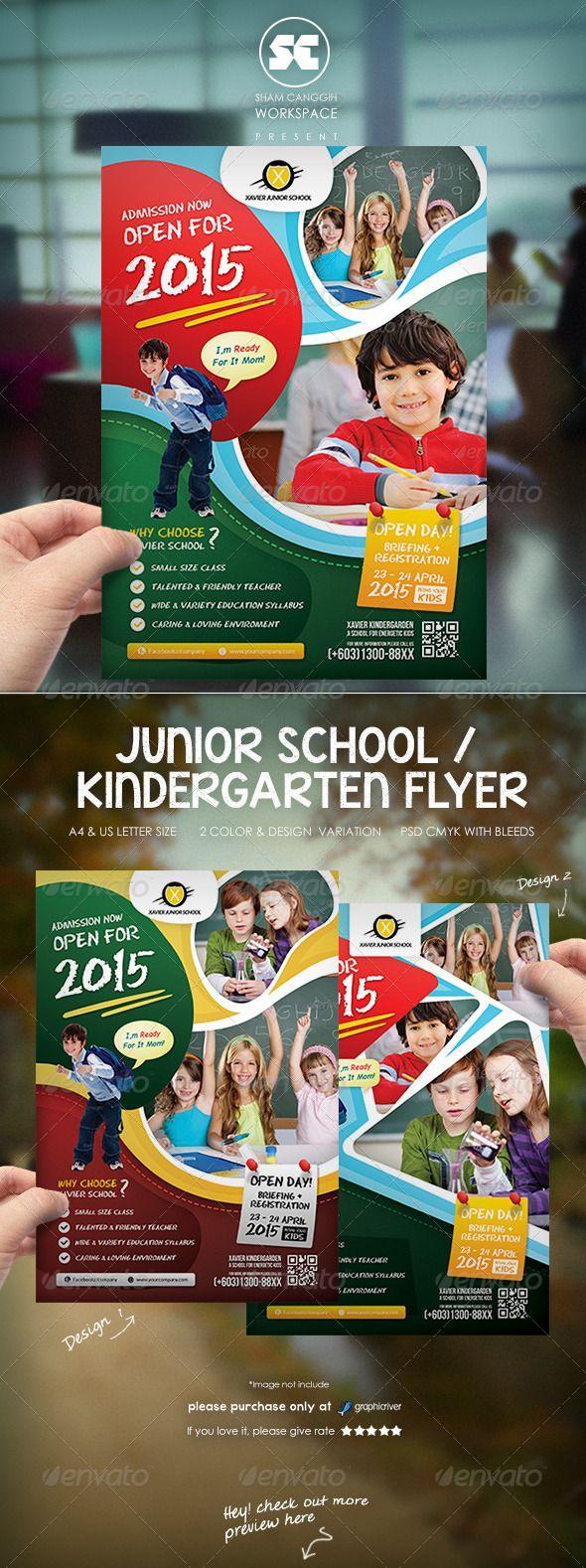 Kindergarten Junior School Flyer — Photoshop Psd #admission #promotion •  Available Here → Https://graphicriver.net/item/kind… | Business Flyer  Template