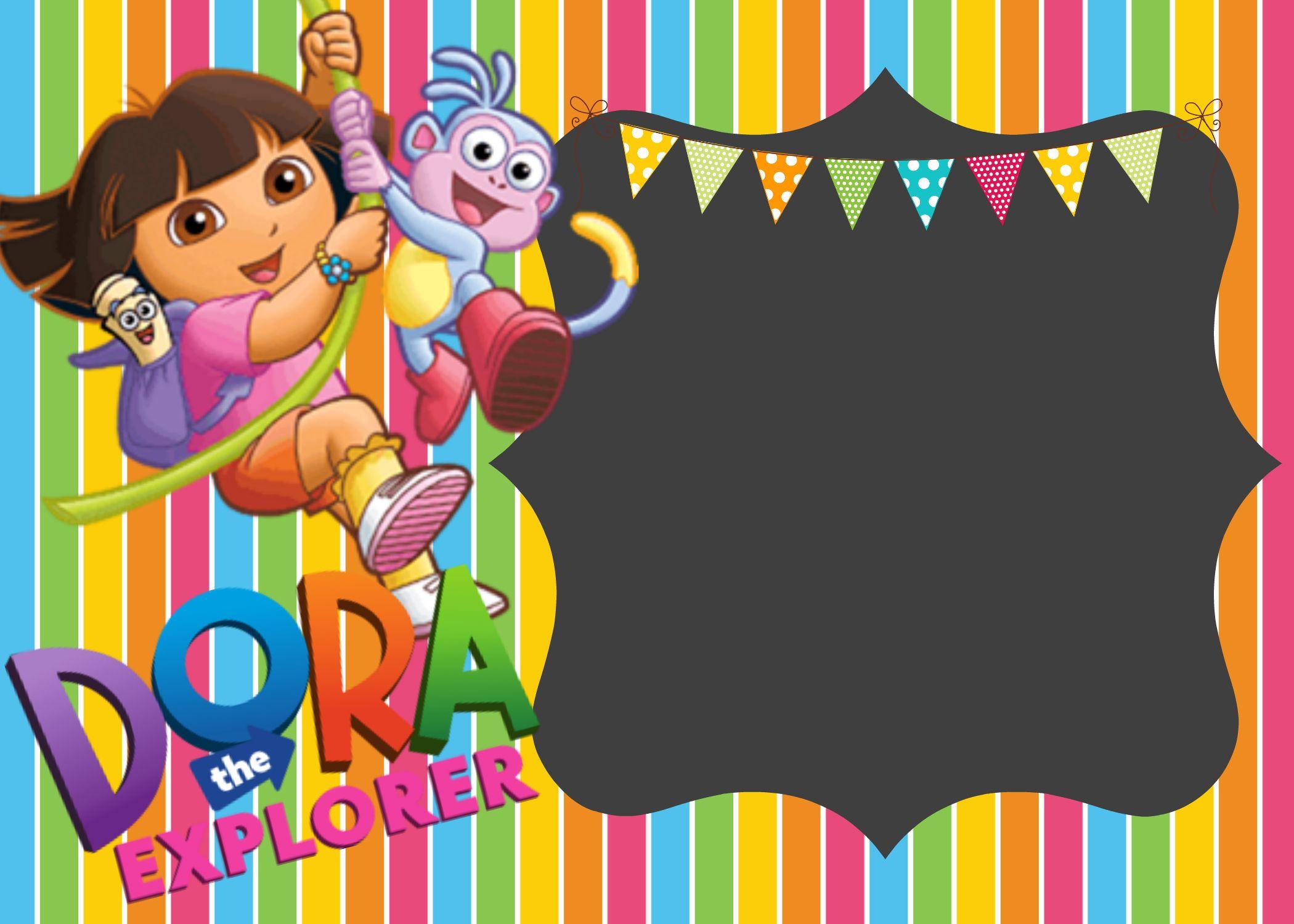 How To Make Dora The Explorer Digital Invitations Ellierosepartydesigns Com Explorer Birthday Party Kids Birthday Invitations Printable Kids Birthday Party Invitations