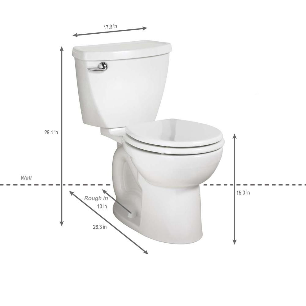 American Standard Cadet 3 Powerwash 10 In Rough In 2 Piece 1 28 Gpf Single Flush High Efficiency Round Toilet In White 270db101 020 American Standard Toilet Cleaning
