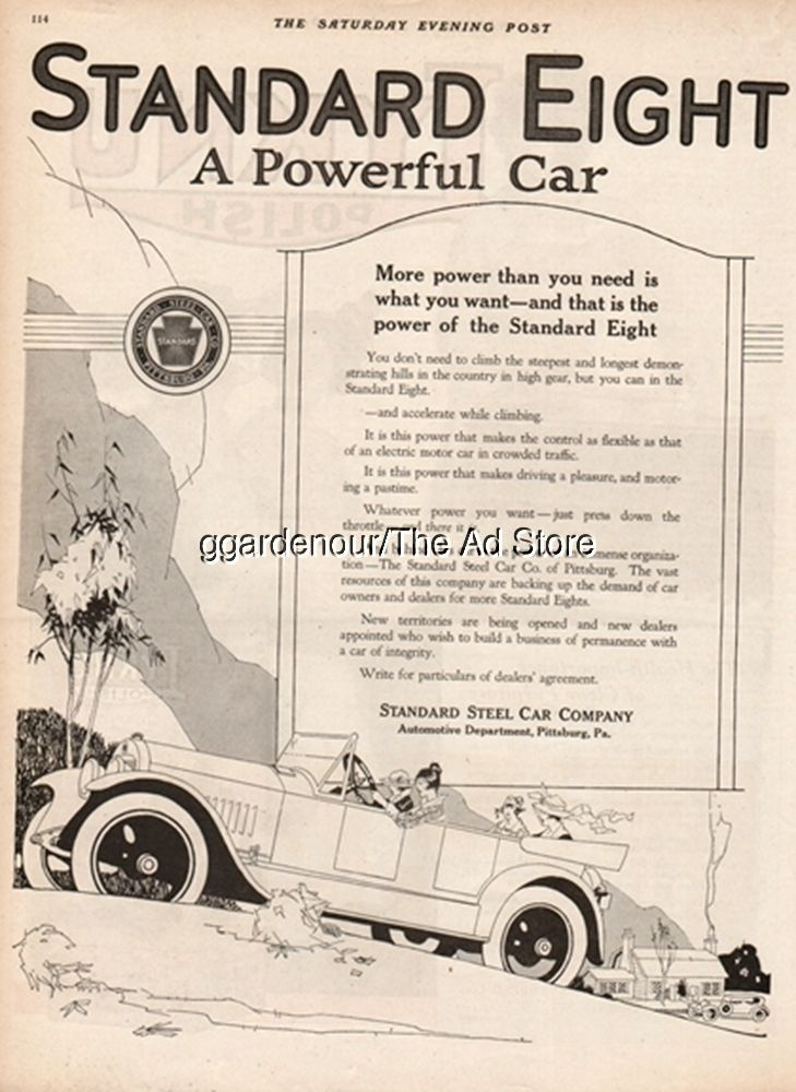 1919 Standard Steel Car Company Pittsburg PA Vintage Eight Auto ...