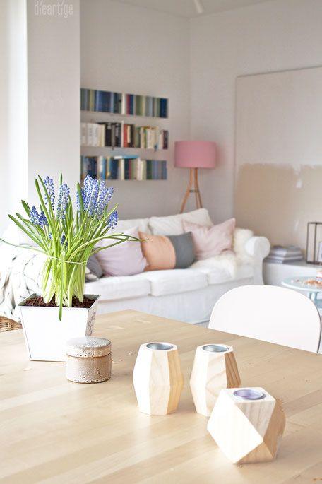 dieartigeBLOG - Frühlingsdekoration, Kupfer-Stehleuchte, Hyazinthen - wohnzimmer schwarz weiss holz