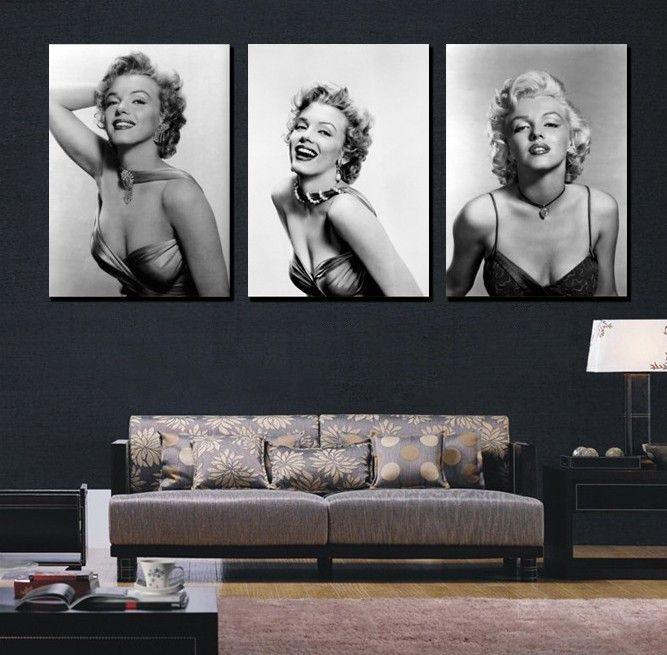 3 Panel Moderm Marilyn Monroe Home Decoration Combinative Canvas