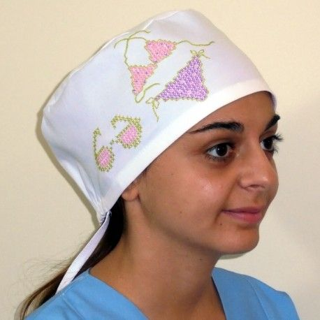 Handmade surgical cap for every medical use. Summer embroidery for this scrub  hat, in