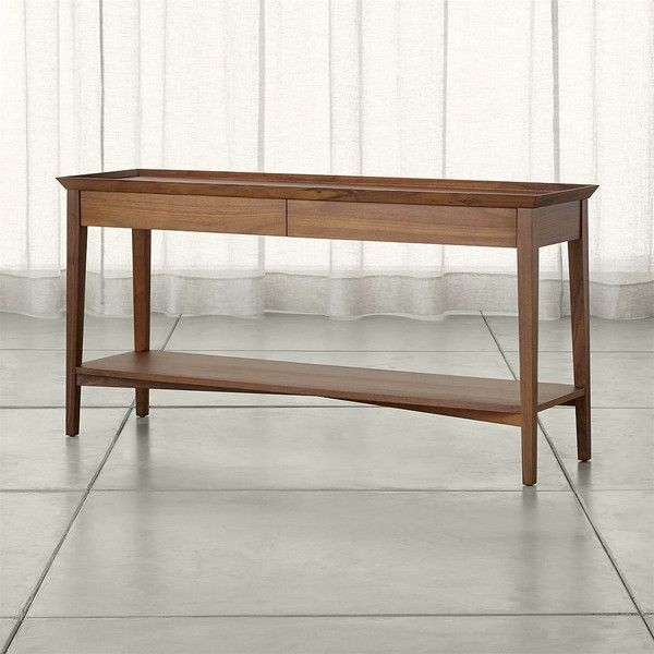 Crate U0026 Barrel Bradley Walnut Console Table With Drawers Featuring Polyvore Home  Furniture Tables Accent Tables