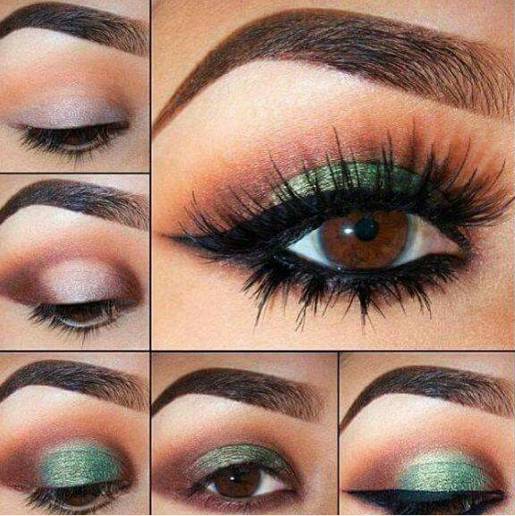 Brown eyes with green make up