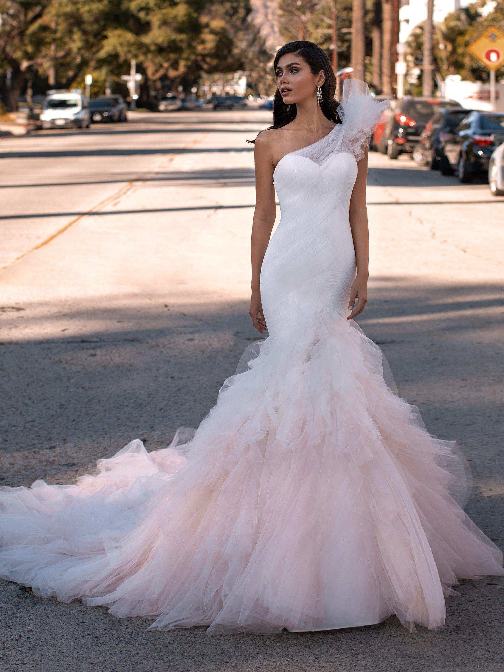 Mermaid Wedding Dress With Asymmetric Neckline In 2020 Ruffle Wedding Dress Pronovias Wedding Dress Wedding Dress Long Sleeve [ 2255 x 1691 Pixel ]