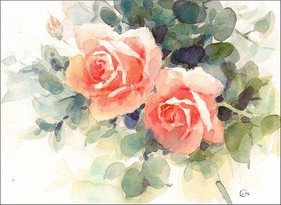 Aquarelles Roses Fete Des Meres Fleurs Peinture Original 8 X 11